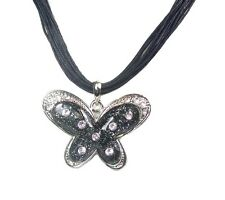 Butterfly Alloy Round Stone Costume Necklaces & Pendants