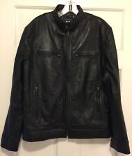 VINTAGE The Leather Factory Black Leather Biker Motor Jacket Mens Sz M