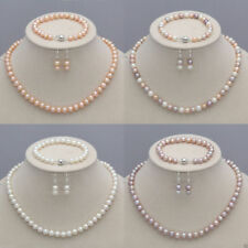 7-8mm/8-9mm Real Natural Freshwater Pearl Necklace Bracelet Earrings Jewelry Set
