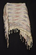 Lime Green Washed Out Pink & Navy w Rust elements I Silver Shine Scarf (S220)