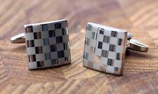 Men's Silver Cufflinks - Checker Pattern