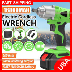 Cordless Electric Impact Wrench Rattle Nut Gun 16800 Li-ion Battery 1/2'' w/ LED
