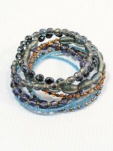 Artisan Gray Purple Blue Glass Bead Memory Wire Wrap Bracelet