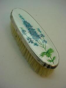 Vintage Guilloche Enamel Dressing Table Brush with Flower Design