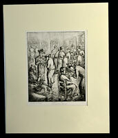 "12"" Antique 1938 Esther Meyer Etching Afternoon Tea San Francisco Museum of Art"