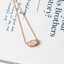 NEW Kendra Scott Elisa ROSE GOLD Oval Pendant Necklace in Iridescent Drusy