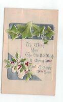 Antique 1908 Embossed Davidson Christmas Post Card Silver Foil Ivy Leaves Basket