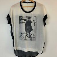 Min Women's Clemence Poesy Strike Black & White Sheer Top L A11-23