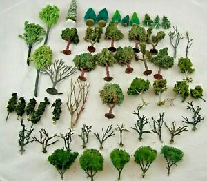 Lot of 50 (Mostly Handmade) HO Scale Scenery Trees, Bushes, Metal Armatures