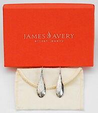 James Avery .925 Sterling Silver Hammered Teardrop Hook Earrings w/ Pouch & Box