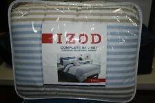 Izod Chambray Stripe Comforter Set with Pillow Shams and Bed Skirt - Full