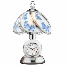 Rose Glass Panel Touch Lamp with Analog Clock
