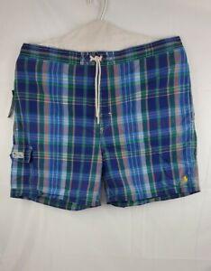 Polo Ralph Lauren Mens Board Shorts Swim Multicolor Plaid Pocket Logo 3XB New