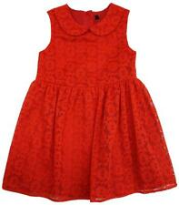 Girls Dress Peter Pan Collar Pretty Sleeveless Floral Lace Toddler 1 to 6 Years