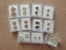 JOB LOT-10 pairs of mix coloured diamonte stud earrings.Gift boxed.Silver plated