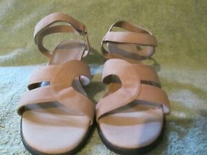 Pre-Owned Markon Nubuck Leather Wedge Sandals w/ Adjustable Ankle Strap Size 10M