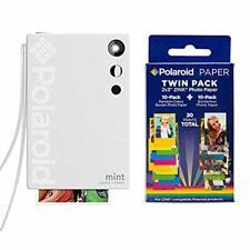 Polaroid Mint Instant Print Digital Camera (White), W/ 20 Pack Zink Zero Ink 2x3