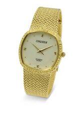 Conqueror Gold-Tone Watch with Mesh Bracelet and Diamond Unisex Quartz Dress ...