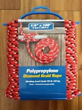 "Highland Polypropylene Diamond Braid Rope 1/4""x100' Work Load Limit 95 lb/43 kg"