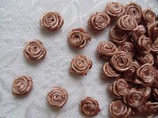 """3/8"""" (W) Pecan Brown /  Dark Cameo Satin Mini Ribbon Roses Flower-100 Pcs-R0030T"""