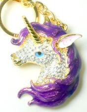 Unicorn Handbag Charm Keyring Diamante Rhinestone Charm Ladies PURPLE NEW