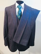 Amazing Flawless Vtg 3 Piece Wool Pinstripe Suit Sz 44 36X32