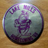 LAKE MILLS, IOWA High School Vintage 1968 HOMECOMING Badge Pinback Pin Button