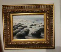 Original Signed Impressionist Rocks  Seascape Oil Painting,Ornately Framed,Beach