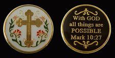WITH GOD ALL THINGS ARE POSSIBLE CHALLENGE MILITARY COINS RELIGIOUS COIN NEW