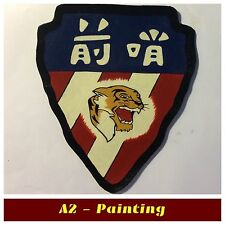 WW2 Hand Painted Flying Tigers 76th Fighter Sqd Leather Patch For A2 G1 Jacket
