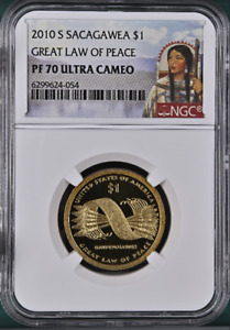 :2010-S $1 SACAGAWEA NATIVE AMERICAN NGC PF70 UCAM LAW OF PEACE RARE R-3 TOP POP