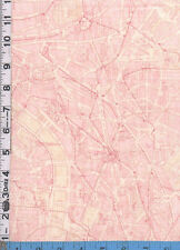 Fabric Moda MAP of PARIS FLea Market FANTASTIQUE!  pink on cream RARE BTHY