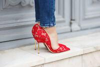 Kurt Geiger London Bond Size 4 / 37 Red Lace Court Shoes High Heels RRP £220 New