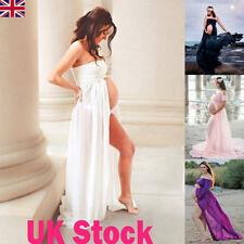 UK Women Chiffon Pregnant Maxi Dress Ladies Maternity Photography Props Dresses