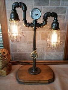 Handcrafted Industrial Pipe 2 bulb Retro style able,desk lamp on wooden base