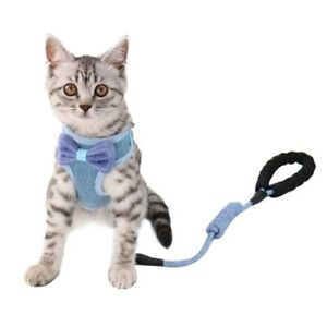 Dog Cat Harness Pet Collar Bow Breathable Adjustable Chest Strap Rope Leash