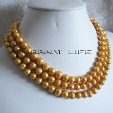 "50"" 7-9mm Golden Freshwater Pearl Necklace Jewelry Strand U"