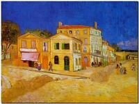 "Vincent Van Gogh *FRAMED* CANVAS ART The Yellow house 24x16"""