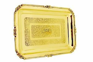 KBB Brass Tray MUGHAL Etching for Serving and for Salad and Rice (850 gm)