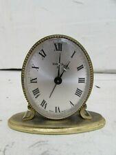 Vintage Swiza 8 Day Brass Alarm Clock, Small Desk/Travel Clock, Swiss Made