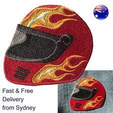 Motor bike helmet iron on patch  - Racing hot flame motorcycle head protector