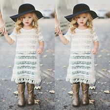 Women And Little Grils Outfit Lace Tassels Blouse Short Sleeve Shirt+Vest Tops