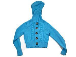 Gap M 8 Original Garment Girls Electric Blue Knit Sweater Brown Buttons Hooded