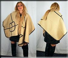 New Beige Cape Black Leather Trim Fox Fur Collar Efurs4less