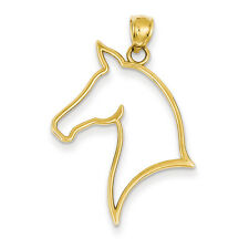 14K Yellow Gold Polished Cut Out Horse Head (32x24mm) Pendant / Charm