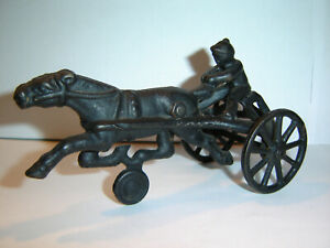Cast Iron Horse Drawn Racing Sulky Trotter VINTAGE