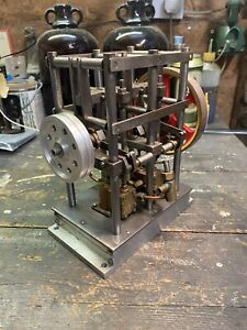 Fully Working Live Steam Stationary Engine Model Twin Cylinder Double-Acting