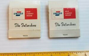 """Vintage """"UNITED"""" Red Carpet Room Unused personalized Matchbooks The Follansbees"""