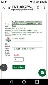 "1 1/4"" CPVC Cement Sockets Union Industrial Ball Valve EPDM Seals-PTFE. RRP£158"