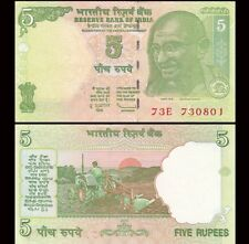 INDIA 5 Rupees, 2001-2011, P-88, Gandhi, Farm Tractor, UNC World Currency